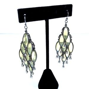 Labradorite-look glass and silver tone earrings